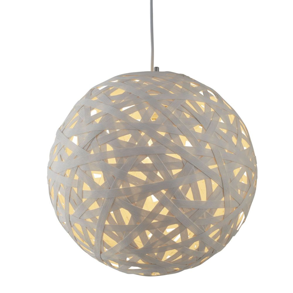 Avalon 1 Light Large Paper Rattan Pendant (50Cm Dia), White (Double Insulated) Bx3501-50Wh-17